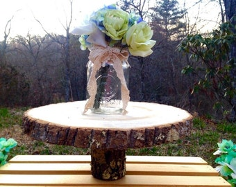 "10-12"" cake stand pedestal centerpiece rustic wedding tree log slice bark cookie"