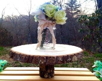 "10-12"" Rustic Wood Tree Slice Wedding Cake Stand Platter Log Round Decor Pedestal"