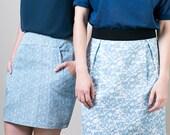 blue print skirt, elastic waist a-line skirt