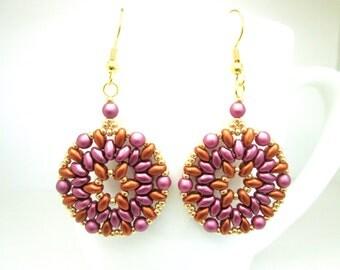 Large bronze and burgundy mandala earrings, boho medallion super duo earrings, amethyst purple jewelry, statement earrings, ER034