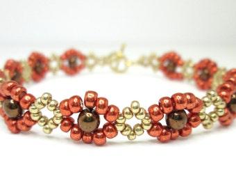 Autumn bronze berry dainty beadwoven bracelet, seed bead bracelet, fall bracelet, autumn jewelry, friendship bracelet, BR019