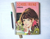 Handmade Notebook Journal - Upcycled Vintage School Friend Annual