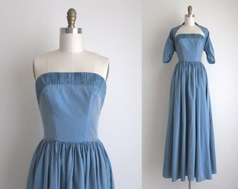 "1940s Formal Dress / Vintage 1940s Dress / Blue Taffeta Party Dress 25"" Waist"