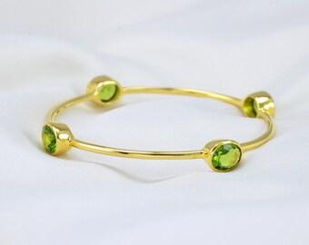 Peridot Bangle - Stackable Gemstone Bangles - Green Bangle - Gemstone Bangle Bracelet - August Birthstone Bangle - Gold Bangle - Bezel Set