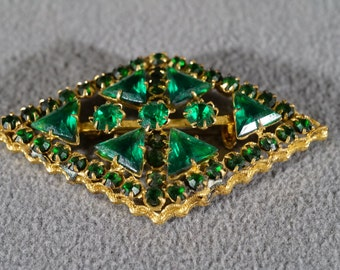 Vintage Art Deco Style Yellow Gold Tone Faux Emerald Glass Stone Pin Brooch Jewelry   #68K