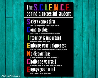 Classroom Wall Art. Classroom Decor. Teacher Sign. Teacher Rules. School Rules. Classroom Sign School. Successful Student. Science Teacher.