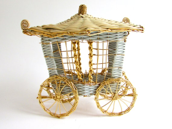 Vintage cinderella carriage centerpiece gold by foxlanevintage