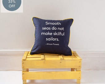 African proverb SAILOR cushion with contrast yellow piping