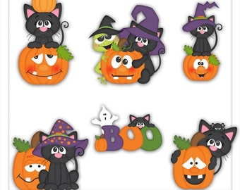 DIGITAL SCRAPBOOKING CLIPART - Not So Scaredy Cats