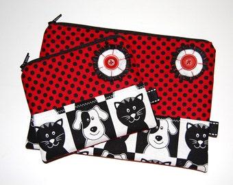 Makeup Bag, Gift Set, Coin Purse, Makeup Pouch, Red Pouch Set, Zippered Pouch, Coin Pouch, Matching Pouch Set, Cosmetic Bag, Dog, Cat