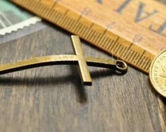 Cross Charms -20pcs antique bronze double hole bent cross connector charm pendants 22x52mm