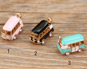 10 pcs of antique gold small bus drop oil charm pendants 10x17mm