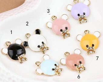 10 pcs of antique gold lovely Kaloo colorful lovely bear charm pendants 20x17mm