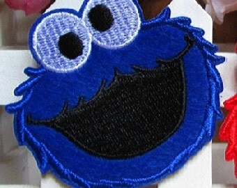 Sesame Street Cookie Monster Applique Embroidery Fabric Iron on Patch Patches DIY Clothes Making Sewing Craft Art