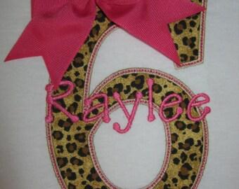 Personalized Girls Leopard / Cheetah Print Birthday Shirt shown here as girls 6th birthday shirt