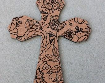 12 inch cork floral cross decorative wall cross cross decor wooden decorative cross - Decorative Cross