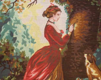 "Needlepoint Canvas ""The Souvenir by Jean Honore Fragonard"""