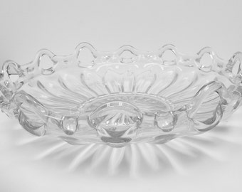 Vintage Large Pressed Glass Bowl, Starburst Design, Scalloped Glass Serving Bowl