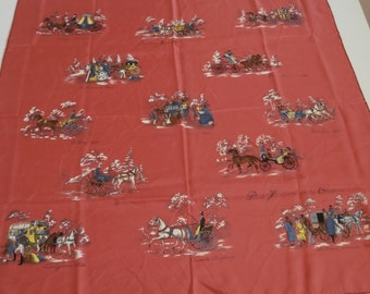 Vintage French Silk Scarf ''Petite histoire de la voiture'', History of Small Carriage Coach,Chariot, Early 70's