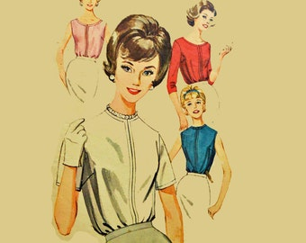 Vintage 60s Blouse Pattern / Butterick 2396 Womens Back Buttoned Blouse / Sleeveless Sleeve Variation Vintage Sewing Patterns Bust 32