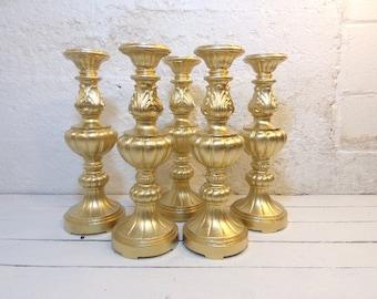 "5 Wedding Candle Pillar Large Candle Holder Set of 5 Gold 15"" Wedding Candles"