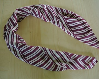 Albert Nipon Silk Scarf Marron and Beige Striped Wrap Scarf Designer Vintage