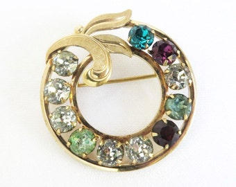 Van Dell Rhinestone Circle Brooch | Vintage 12K Gold Filled Pin