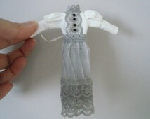 1:12 scale Women's retro/vintage style dress/ grey lace for Heidi dolls by Jing's Creations
