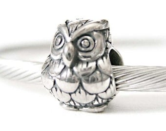 Sterling Silver Owl European Style Large Hole Bead