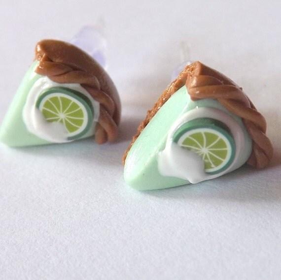 Key Lime Pie Earrings - Miniature Food Jewelry - Hypoallergenic ...