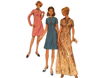Simplicity 9034, Dress, Two Lengths, Maxi, Slit Neckline, Size 18 1/2, Bust 41, Seam Interest, 1970s Vintage Fashion Sewing Pattern