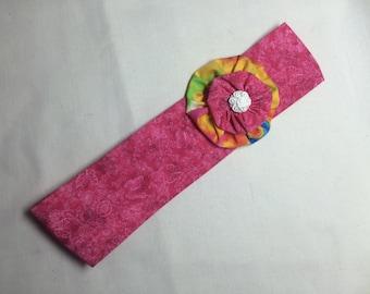 Headband, pink headband with yoyo, yoyo headband