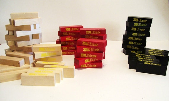 Vintage jenga ultimate 68 wooden blocks game parts crafts for Plain wooden blocks for crafts