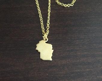 Wisconsin Necklace, Wisconsin, gold Wisconsin necklace, Wisconsin jewelry, Wisconsin pendant, state necklace, state jewelry, gold necklace