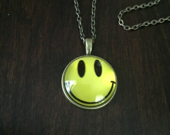 happy face necklace, happy face, yellow happy face, glass necklace, bronze necklace, necklace