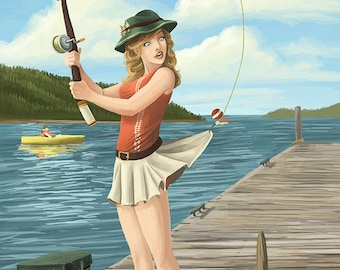 Fishing Pinup Girl - Alki Beach - Seattle, WA (Art Prints available in multiple sizes)