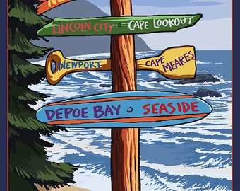 Pacific City, Oregon Destinations Sign (Art Prints available in multiple sizes)
