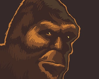 Bigfoot Face (Art Prints available in multiple sizes)