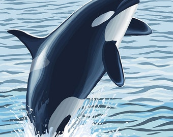 Orca Whale Jumping (Art Prints available in multiple sizes)