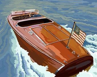 Lake Geneva, Wisconsin - Chris Craft Wooden Boat (Art Prints available in multiple sizes)