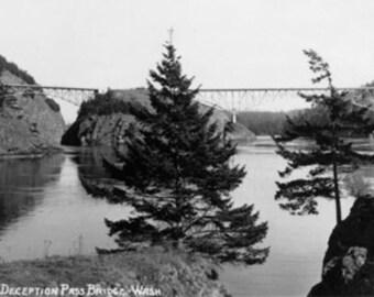 Deception Pass Bridge, Washington View Photograph (Art Prints available in multiple sizes)