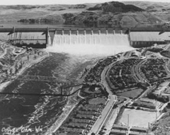 Grand Coulee Dam View from Air Photograph (Art Prints available in multiple sizes)