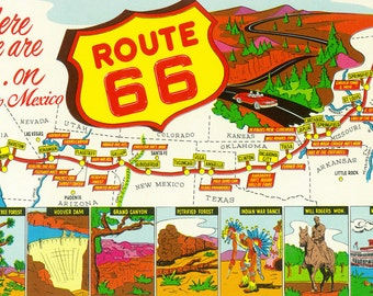 New Mexico - Route 66 Map (Art Prints available in multiple sizes)