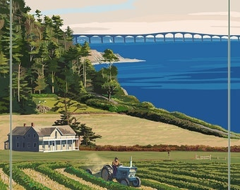 Prince Edward Island - Confederation Bridge and Farm (Art Prints available in multiple sizes)