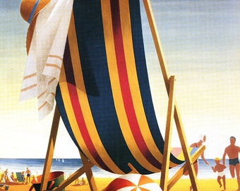 Southport, North Carolina - Beach Chair and Ball (Art Prints available in multiple sizes)