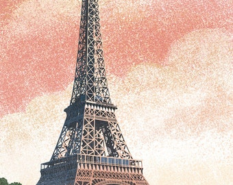 Paris, France - Eiffel Tower and River - Lithograph Style (Art Prints available in multiple sizes)