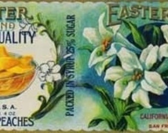 Easter Peach Label (Art Prints available in multiple sizes)