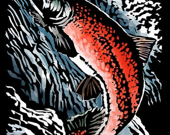 Port Townsend, Washington - Sockeye Salmon - Scratchboard (Art Prints available in multiple sizes)
