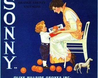Olive, California - Sonny Brand Citrus Label (Art Prints available in multiple sizes)
