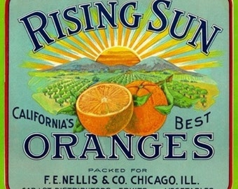 California - Rising Sun Brand Citrus Label (Art Prints available in multiple sizes)